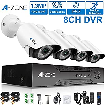 A-ZONE 8CH 1080P DVR AHD Security Cameras System kit W/4x HD 960P waterproof Night vision Indoor/Outdoor CCTV surveillance Bullet Camera by Tollar