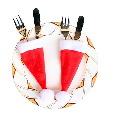 Ruikey Navidad Sombreros Vajilla Cena de Navidad Cuchillos Cucharas Tenedores Cubiertos de Plata Bolsillos para Fiesta