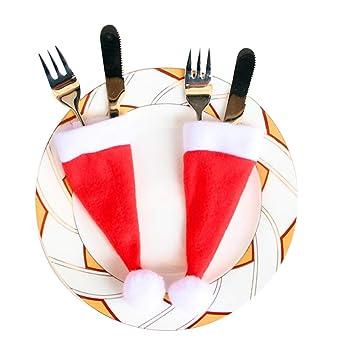 Ruikey Navidad Sombreros Vajilla Cena de Navidad Cuchillos Cucharas Tenedores Cubiertos de Plata Bolsillos para Fiesta de Cumpleaños Restaurante Decoración ...