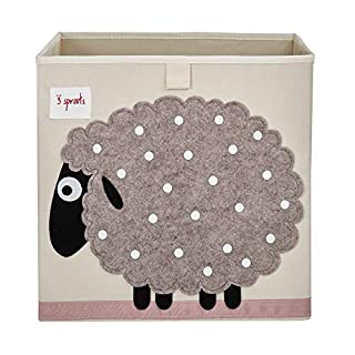 3 Sprouts Cube Storage Box - Organizer Container for Kids & Toddlers, Sheep