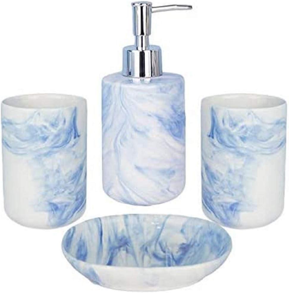F/ülleMore Ceramic Bathroom Accessories Set 4-Piece Bathroom Set Luxury Blue Marble Look Bathroom Accessory Set Soap Dispenser Soap Dish 2 x Toothbrush Cups