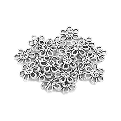 12mm Round Filigree Floral Connector Link Charms Findings Jewelry Making DIY Pack of 100 (Antique Silver)