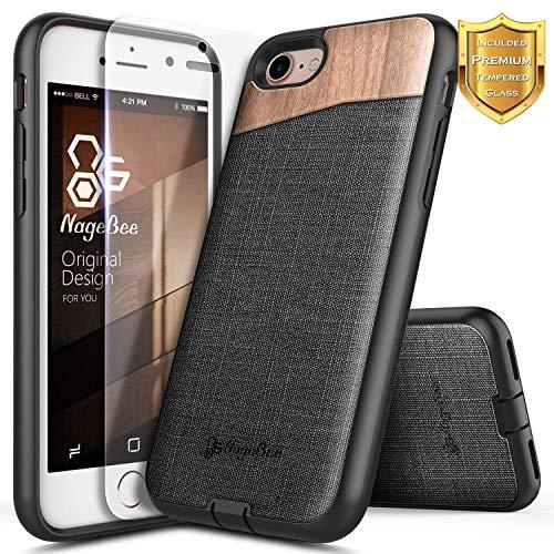 [해외]아이폰 66S 나무 케이스 NageBee 프리미엄 [천연 나무] 캔버스 직물 무거운 의무 충격 방지 듀얼 레이어 하이브리드 수비수 견고한 내구성 케이스와 함께 [강화 유리 화면 보호기]-나무 / iPhone 6  6S Wood Case NageBee Premium [Natural Wood] Ca...