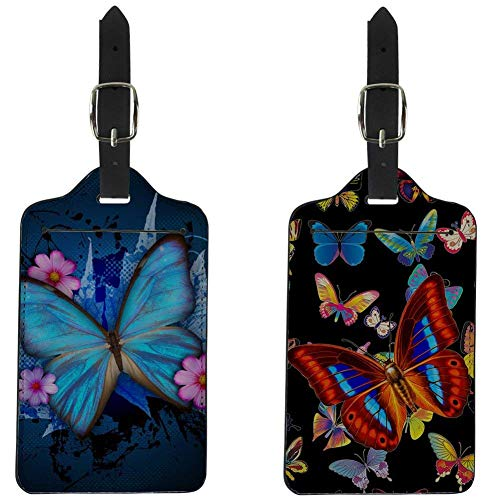 - FOR U DESIGNS Travel Carrier Luggage Tags 2 Piece Sets Butterfly Print Card Holder