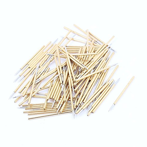 uxcell 100 Pcs Spring Test Probes Testing Pins 0.45mm Pointed Tip