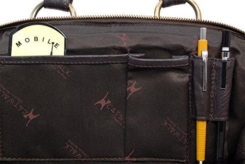 COLLECTION Cuero CATWALK Collection Marrón Catwalk Handbags Oscuro DOCTOR Bolso qZzat4vw