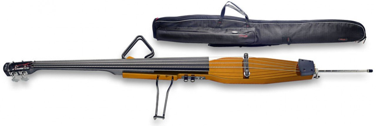 Stagg EDB-3/4 H Electric 3/4 Size Double Bass with Gigbag Included - Honey