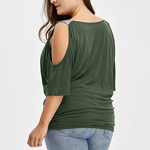 iBaste Übergröße Blusen Damen T-Shirt Oberteil Schulterfrei Damen Locker  Oberteil Tops Bluse (XL ... cf1a6ab42a