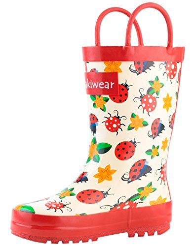 Oakiwear Kids Rubber Rain Boots with Easy-On Handles, Ladybugs & Flowers, 4T US Toddler