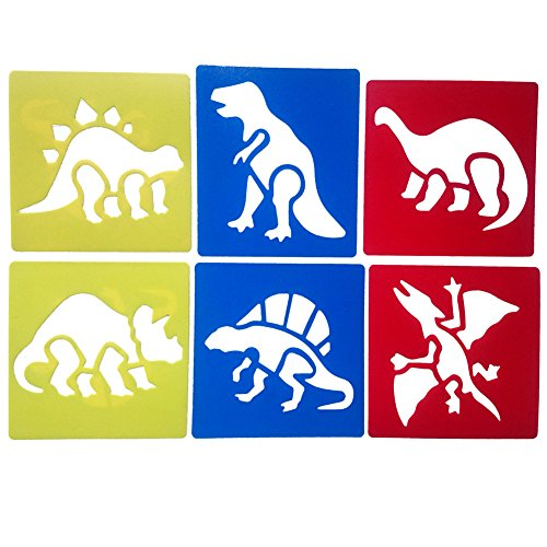 Dinosaur Stencils - Mike Home 6 Piece Assorted Color