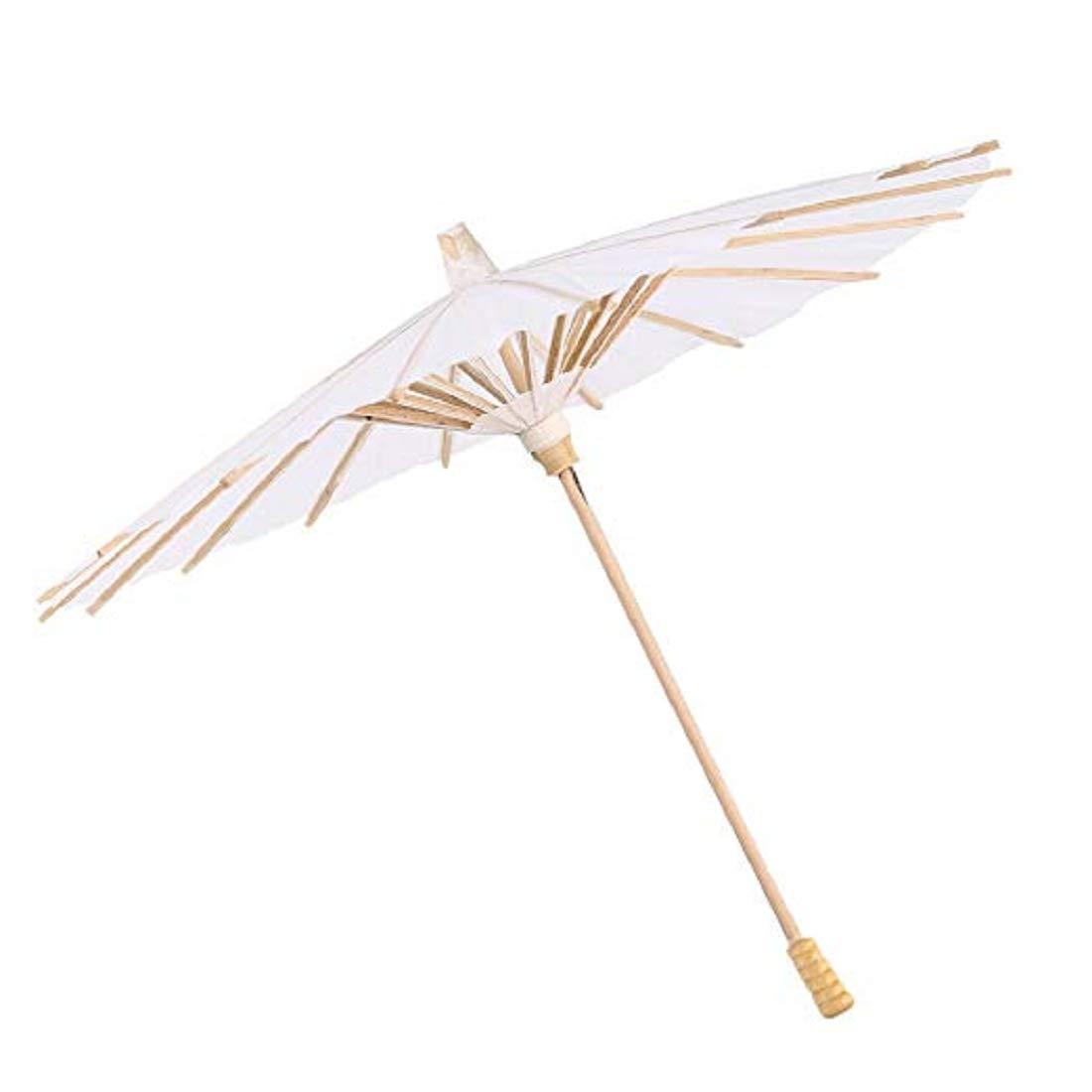 Chinois en Bambou Parasol Parapluie,Vennisa Blanc Mariage Tournage Parasol Fait à La Main Ombrelle Mariage Parasol Mariage Décor Danse Photo Cosplay Prop (Blanc, 22CM)