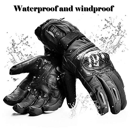 Whishine Heated Gloves for Men Women - Electric Winter Thermal Gloves with Rechargeable Battery and LED Display, Waterproof Touchscreen Gloves for Ski Motorcycle Snow