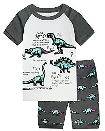 Boys Pajamas Short Clothes Set Dinosaur 100% Cotton Toddler Kids Short Pjs Sleepwear Size5