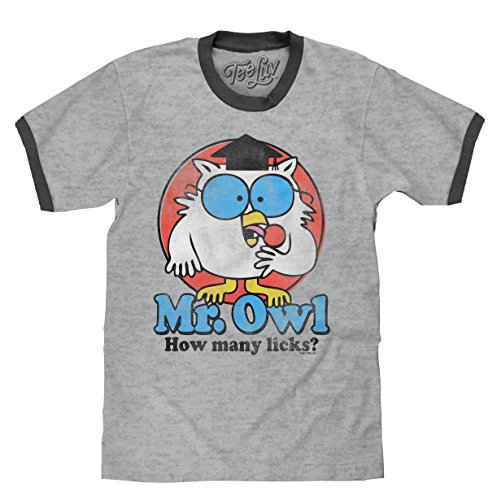 Tee Luv Mr. Owl How Many Licks? T-Shirt - Mr. Owl Ringer Shirt (Small) -