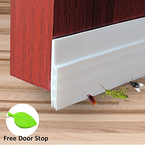Interior Garage Door (Door Bottom Seal Strip, RIOUSSI Under Door Draft Stopper Sweep Weather Stripping for Home, Bedroom, Front Doors & Back Doors (White, 2