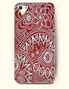 OOFIT Apple iPhone 5 5S Case Moroccan Pattern ( Maroon and White Flowers )