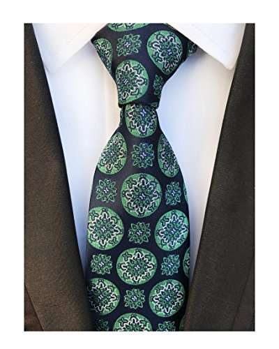 Mens Navy Blue Silk Tie Green Big Dot Jacquard Woven Gentlemen Necktie Guy Gifts