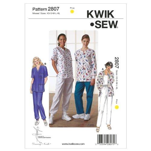 Kwik Sew K2807 Scrubs Sewing Pattern, Size XS-S-M-L-XL by KWIK-SEW PATTERNS