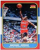 NBA Chicago Bulls Michael Jordan Autographed 1986 Fleer Rookie Card Blow Up Photograph