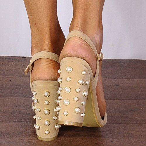 Sandaler Toes Strappy Det Høye Damene Nude Knapt Sko Hæler Pearl Skap Peep aq1Ynwz0
