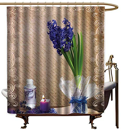 StarsART Shower Curtains Kids Candle and Hyacinth,Flowers Natural Pictures Decor Romantic Bath Sets of Zen Spa with Colorful Vase,Purple Green Brown,W65 x L72,Shower Curtain for Bathroom