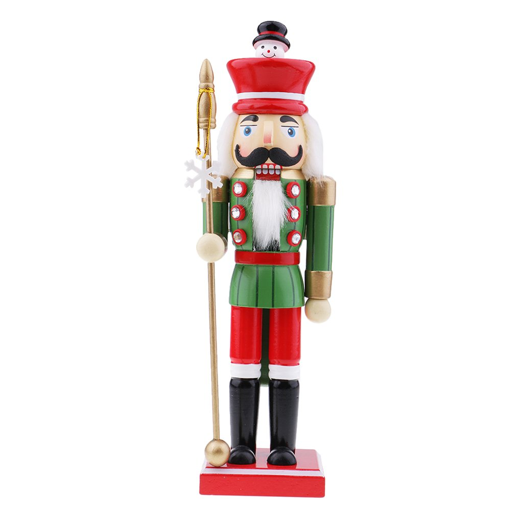 Flameer Christmas Nutcrackers Wooden Solider Puppets Ornament Christmas Nutcracker Gift Snowman Head Top