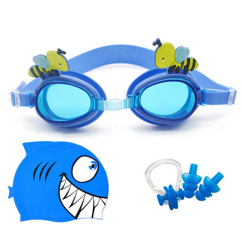 Tappi per Le Orecchie e Custodia Impermeabile per Bambini dai 2 ai 6 Anni Set di occhialini da Nuoto in Silicone AlisaPrincessQ con occhialini a Specchio Cuffia da Nuoto Clip per Il Naso