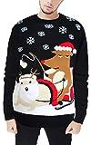 Image of Christmas Men Loose Reindeer Knitted Longsleeve Sweatshirt Sweater Fleece Ugly Pullover Reindeer M