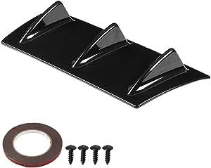 Aramox Car Rear Bumper,Universal Car Rear Bumper Chassis Shark Fin Spoiler Wing Lip Diffuser (S)