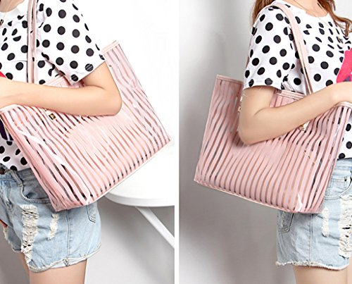 Women Bags Small Clear Tote Pink With Transparent Handbag Drasawee OSnHanz