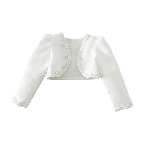 Iiniim Bolero Blanco Con Perla Chaquetas Niña Elegante Capa Manga Larga Princesa Chaqueta Corto Para Vestido Traje Infantil De Fiesta Boda Dama De