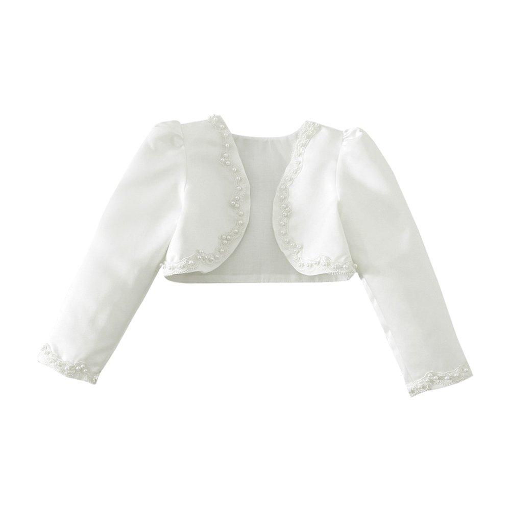 CHICTRY Flower Girls Long Sleeve Beading Stain Bolero Shrug Princess Formal Dress Cover Up Ivory 5-6