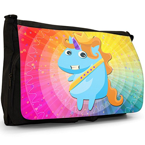 Up Mythical Bag Canvas Unicorns Messenger Magical Bag Unicorn School Pageant Winner Large Laptop Shoulder Dressing Black Miss qrTztwr