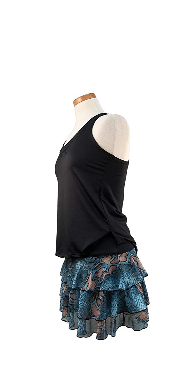 Peachy Tan Carmela Skirt in Snake Print Mesh