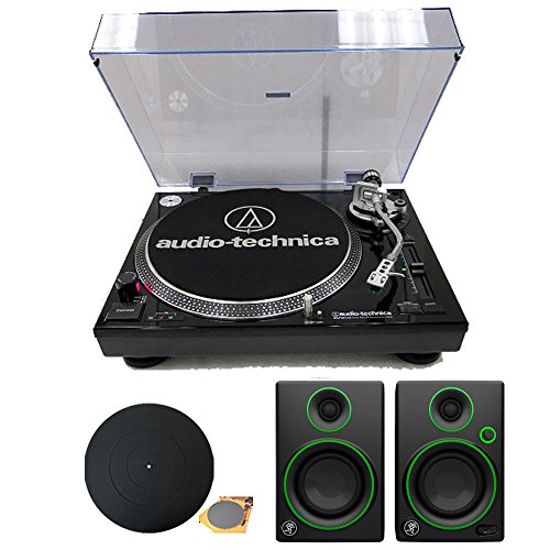 Audio-Technica AT-LP120-USB Direct Drive Professional Stereo Black Turntable Bundle with Turntable and Mackie CR Series CR3 3