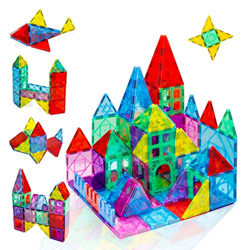 Magnetic Tiles Building Set for Kids Ages 3+,52PCS Magnet Blocks Clear Colors Set,Creativity and Educational Gift Toys for Toddlers,Boys and Girls 3 Years and Up,Learning and Playing at Home