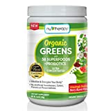 organic all day energy greens - Nu-Therapy Organic Greens Superfood Powder, With probiotics, Blueberry Burst Flavor, 30 Servings