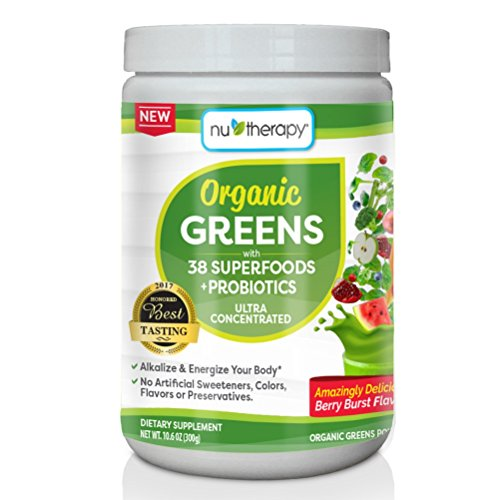 Nu-Therapy Organic Greens Superfood Powder, With probiotics, Blueberry Burst Flavor, 30 Servings 51h P65ulPL