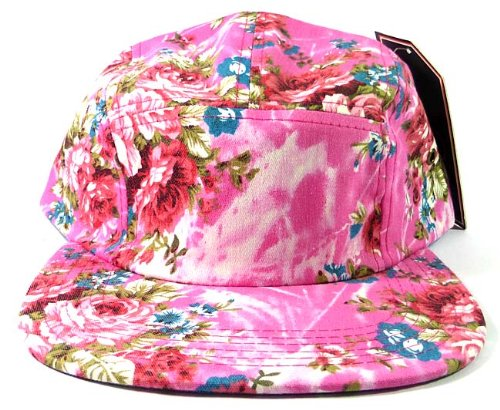 5-panel-floral-camp-hats-caps-fashion-pink-flower