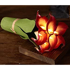 Homeseasons LED Lighted Artificial Flower Calla Lily Arrangement-Battery Operated 7 Heads Calla Lily Light with Green Leaves 5