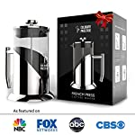 "Gorgeous [8 Cup] French Press Coffee Maker & Tea Maker (34 Oz) - Best Café Press Pot with 18/8 Grade Stainless Steel & No-Shatter Borosilicate Glass - Drink the Perfect Cafetiere Cuppa Every Time! 11 BLACK FRIDAY SUPER SALE COUPON - Want to save an EXTRA 10% TODAY Only? Use Coupon at checkout: LLPRIME1. Limited Stock! Expires Today! SKIP THE CAFÉ - OUR PATENTED SYSTEM IS 100 TIMES BETTER: Did you know that the IDEAL French press with the PERFECTLY SIZED micro filter actually UNLOCKS FLAVORS you've never tasted before? AROMAS you'll only find in a European Café? And the happiness only the perfect cuppa brings? Yeah, it's like that... 4 MINUTES - IMAGINE IF YOU COULD GET THE PERFECT CUPPA FASTER than your Barista could make it! If you're looking for a barista quality French press coffee maker that's actually FASTER than standing in line at you know where, then you'll love how our RAPID RELEASE stainless steel French Coffee press microfilter and plunger system delivers you SMOOTH, CREAMY COFFEE in 4 minutes or less! PICS DON'T DO IT JUSTICE! Stunning and sleek in design, this will have you (or your beloved gifted) saying ""OOOOH LA LA GORGEOUS!"" Every detail is accounted - from the COOLTouch handle to the LUSTROUS 18/8 CHROME STAINLESS STEEL to the curvaceous design, to the sparkling borosilicate glass - it's a VISION to behold."