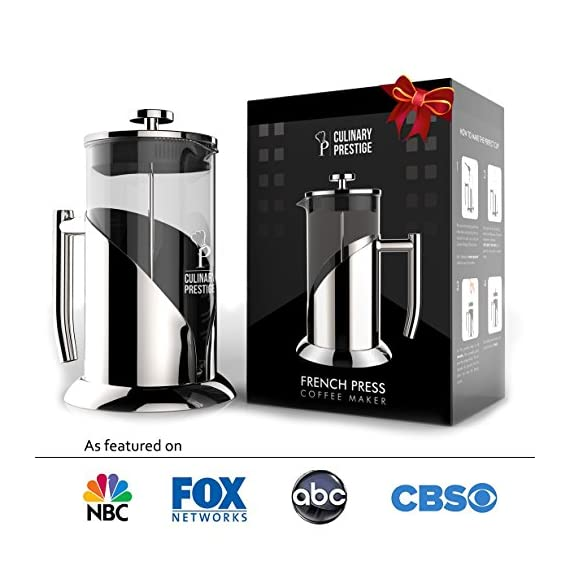 """Gorgeous [8 Cup] French Press Coffee Maker & Tea Maker (34 Oz) - Best Café Press Pot with 18/8 Grade Stainless Steel & No-Shatter Borosilicate Glass - Drink the Perfect Cafetiere Cuppa Every Time! 2 BLACK FRIDAY SUPER SALE COUPON - Want to save an EXTRA 10% TODAY Only? Use Coupon at checkout: LLPRIME1. Limited Stock! Expires Today! SKIP THE CAFÉ - OUR PATENTED SYSTEM IS 100 TIMES BETTER: Did you know that the IDEAL French press with the PERFECTLY SIZED micro filter actually UNLOCKS FLAVORS you've never tasted before? AROMAS you'll only find in a European Café? And the happiness only the perfect cuppa brings? Yeah, it's like that... 4 MINUTES - IMAGINE IF YOU COULD GET THE PERFECT CUPPA FASTER than your Barista could make it! If you're looking for a barista quality French press coffee maker that's actually FASTER than standing in line at you know where, then you'll love how our RAPID RELEASE stainless steel French Coffee press microfilter and plunger system delivers you SMOOTH, CREAMY COFFEE in 4 minutes or less! PICS DON'T DO IT JUSTICE! Stunning and sleek in design, this will have you (or your beloved gifted) saying """"OOOOH LA LA GORGEOUS!"""" Every detail is accounted - from the COOLTouch handle to the LUSTROUS 18/8 CHROME STAINLESS STEEL to the curvaceous design, to the sparkling borosilicate glass - it's a VISION to behold."""