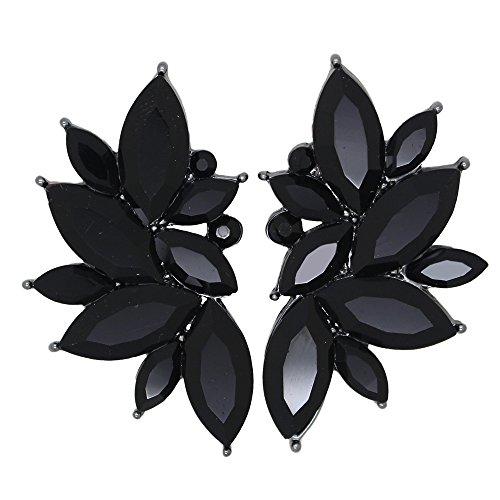 Xdaccgo Luxury Leaves Shape Glass Cluster Crystal Teardrop Flower Design Studs Earrings (Black)