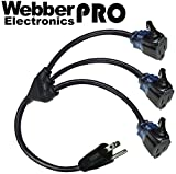 "CW43719 Webber PRO-SERIES Locking 2.5FT Extension Cable NEMA5-15P PLUG TO ""TRITON"" Triple Locking Receptacles ILLUMINATED"