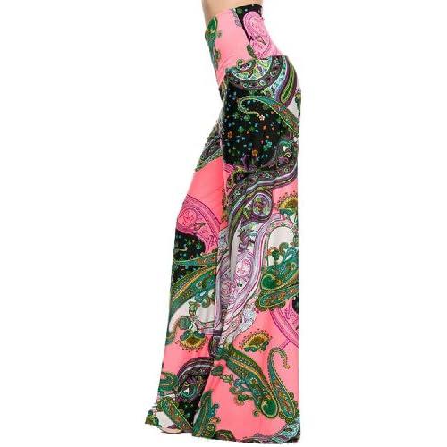 e4ea079f841 Womens Fold Over Waist Wide Leg Palazzo Pants (Coral Paisley) durable  modeling