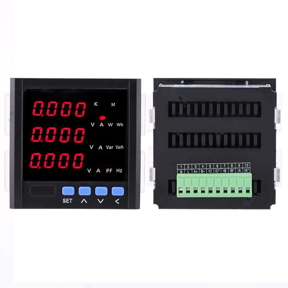 Blanc noir amp/èrem/ètre AC programmable amp/èrem/ètre num/érique triphas/é 1A // 5A // 10A AC Amp/èrem/ètre alternatif Voltm/ètre triphas/é 黑色