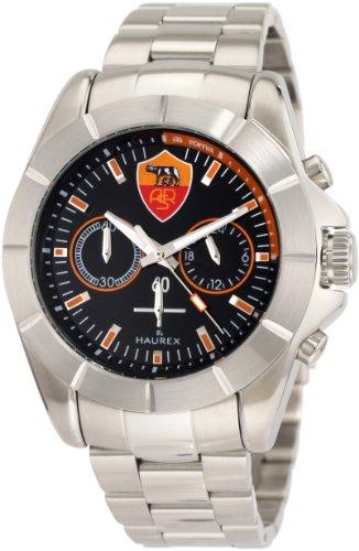 Haurex Italy Men's RO366UNN AS Roma Aston Chronograph Black Dial Steel Bracelet Sport Watch - Watch Aston Steel Stainless