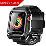 Apple Watch Band 42mm, Shockproof Rugged Protective Cover with Strap Bands Stainless Steel Clasp for iWatch Apple Watch Series 3, 2, 1 Sport & Edition for Active Style Men Women grils boys(Black)