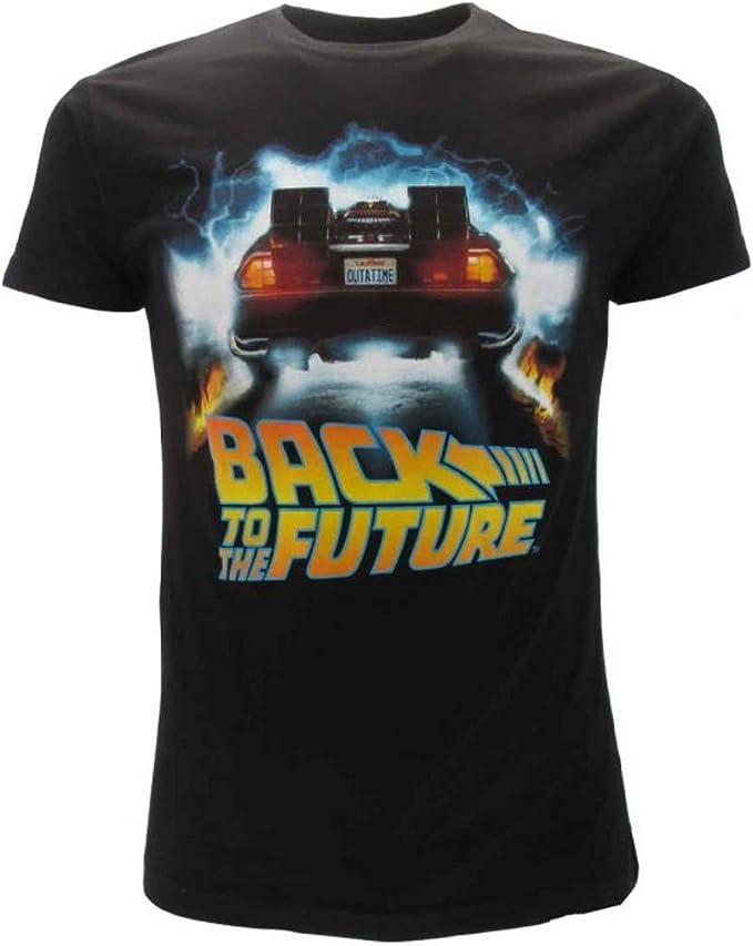 BTTF Regreso AL Futuro T-Shirt Camiseta Negra Delorean Outatime Oficial Original Back To The Future: Amazon.es: Deportes y aire libre