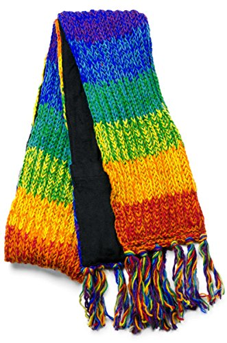 Three Cranes Gallery Men's Wool Scarf - Rainbow Stripe ()